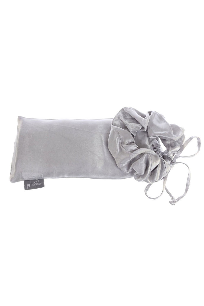 Standard Satin Pillowcase with Satin Hair Scrunchie-Dark Silver