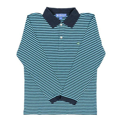 J Bailey-L/S Henry Polo-Turqoise and Navy Stripe