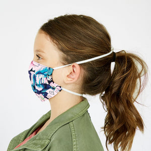 Cotton Pleated Face Mask with Adjustable Elastic-Bonbon Medallion