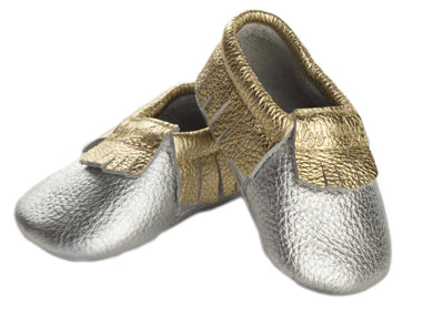 Moc Happens Leather Baby Moccasins- Precious Metal
