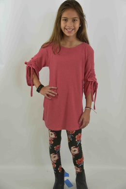Area Code 407-Kiera Coral texture tunic top / rouched sleeve