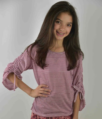 Area Code 407-Isabella Burgundy stripe rouched sleeve top