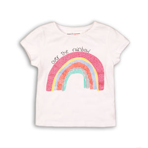 Minoti-Tee Shirt w/cap sleeve & glitter Over the Rainbow