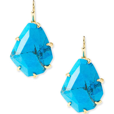 SALE-Rosenell Gold Drop Earrings in Aqua Howlite