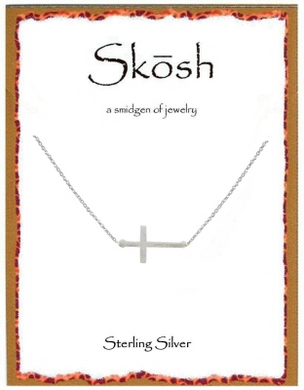 "Sterling Silver 16"" Brushed Sideways Cross"