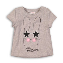 Load image into Gallery viewer, Minoti-Tee Shirt GreySuper Awesome w/cap sleeves &glitter Bunny head