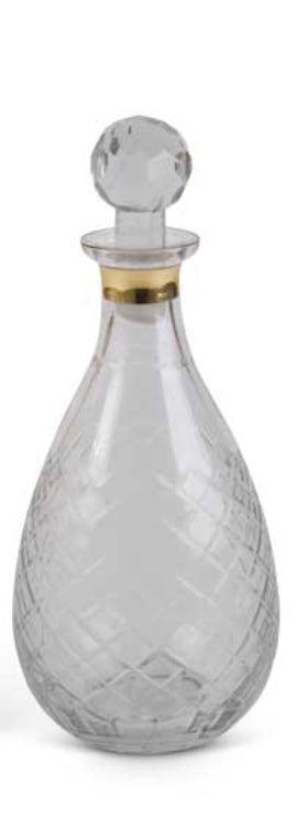 Glass Decanter w/ Gold Trim(8.25 in.)