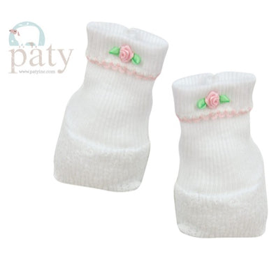 Paty Booties-White w/Pink Trim & Pink Rosettes