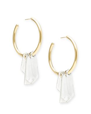 SALE-Gaby Gold Statement Earrings In Ivory Mix