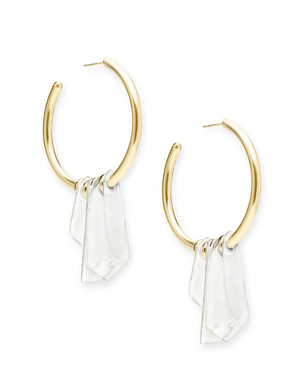 Gaby Gold Statement Earrings In Ivory Mix