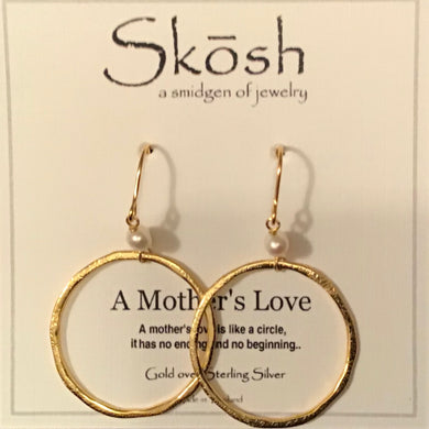 Skosh A Mother's Love Earrings-Pearl w/Gold