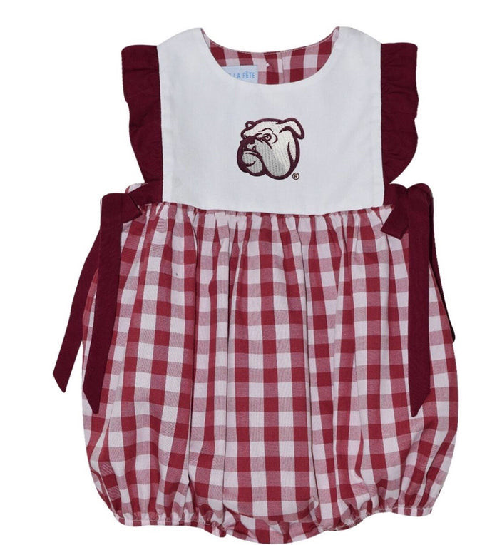 Vive La Fete-MSU Girls Big Check Maroon Embroidered Bubble