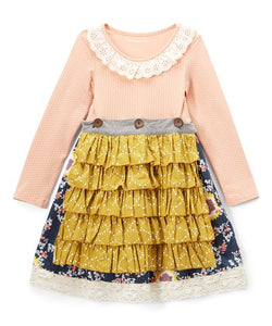 Mustard Pie-Jeweled Frost Mabel Apron Dress
