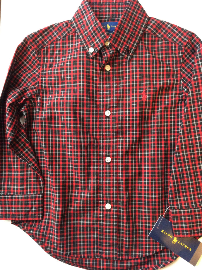 Ralph Lauren Polo-Button Down L/S-Red/Black Mu