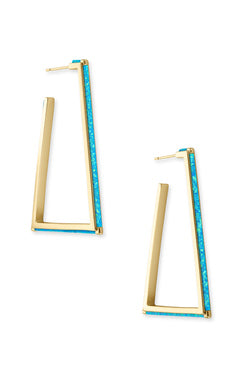 SALE-Easton Earring Gold Turquoise Kyocera Opal