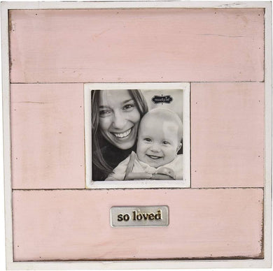 Mud Pie-So Loved Pink with White Trim Distressed Frame