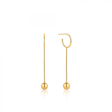 Orbit Solid Drop Earrings-Gold