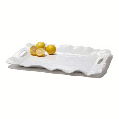VIDA Havana White Rectangle Tray with Handles
