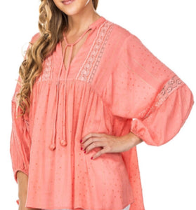Lace Trim Dotted Swiss Blouse-Coral