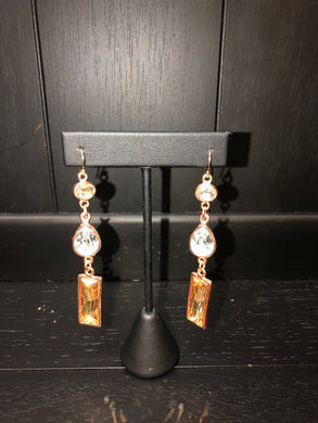 Diana Warner-Olivia Earrings Long Rosegold w/ Crystal & Earth Swarovski