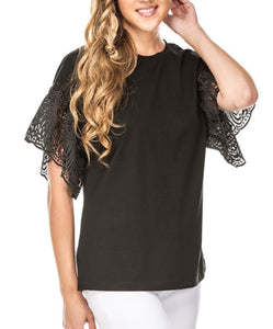 Lacey Sleeve Top-Black