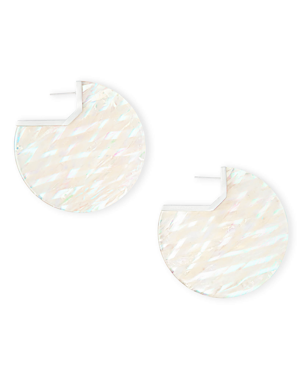 SALE-Kai Bright Silver Hoop Earrings In Iridescent Acetate