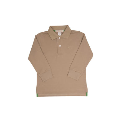 TBBC-Long Sleeve Prim & Proper Polo Keeneland Khaki with Khaki Stork