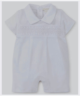 Kissy Kissy-Baby Boys Short Playsuit-Special Occasion w/ Hand Smocking