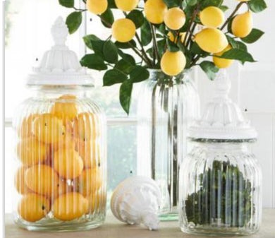 Glass Jars with Decorative White Resin Lids (3 Sizes Available)