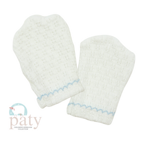 Paty Mittens White w/Blue Trim