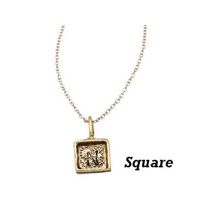 Square Initial Charms-Antique Gold