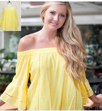 Yellow Cold Shoulder Top w/Straps