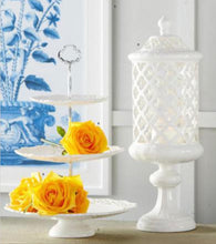 Load image into Gallery viewer, 18 Inch White Ceramic Filigree Cylinder Shaped Container