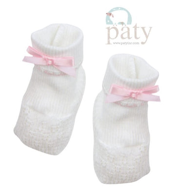 Paty Booties-White w/Pink Trim & Pink Bows