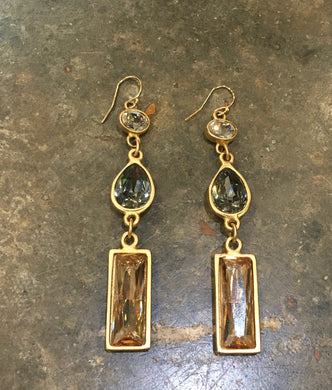 Diana Warner-Olivia Earrings Long Gold w/Gold, Navy & Earth Swarovski