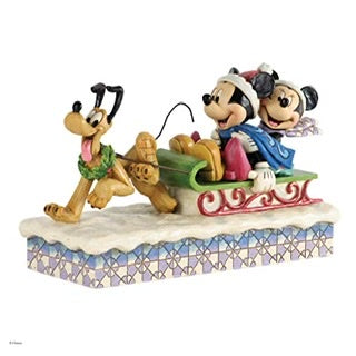 Disney Traditions-Mickey Minnie and Pluto with Sleigh, Multi-Coloured