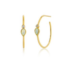 Opal Colour Raindrop Hoop Earrings-Gold