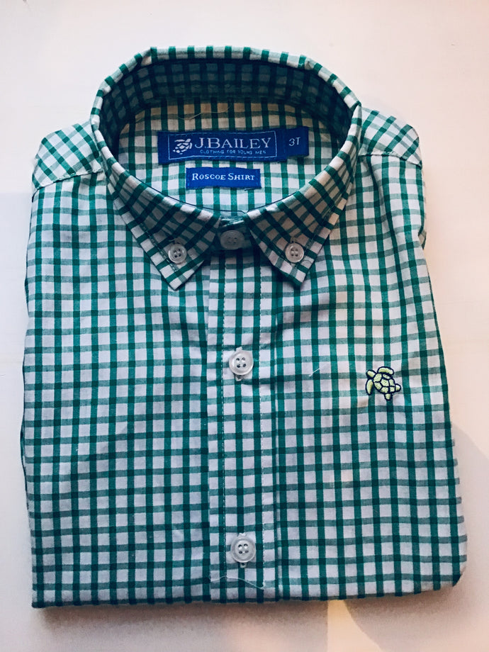 J Bailey-L/S Roscoe Button Down Shirt-Green Check