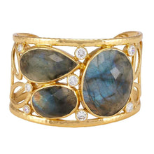 Load image into Gallery viewer, Atlas Cuff Gold Labradorite White CZ
