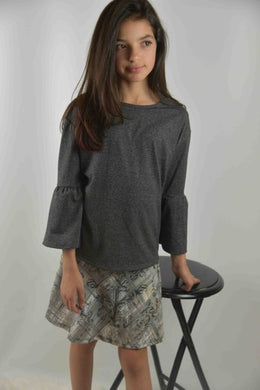 Area Code 407-Emma Grey knit top with angled sleeve