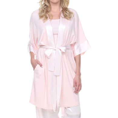 PJ Harlow-Shala Knit Robe with Pockets and Satin Trim-Blush