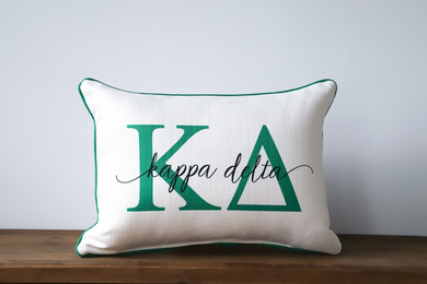 Kappa Delta-Large Letters Overlap Pillow