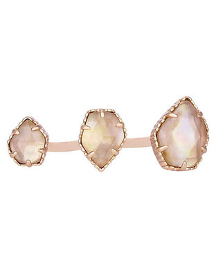 SALE-Naomi Double Ring in Rose Gold with Brown Pearl