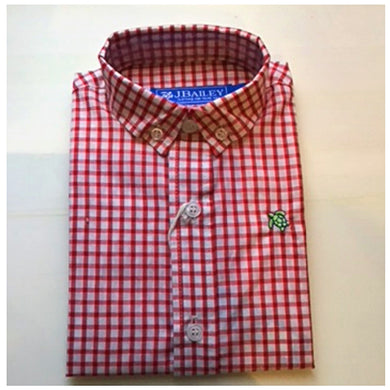 J Bailey-L/S Roscoe Button Down Shirt-Tobasco Red Check