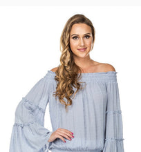Load image into Gallery viewer, Swing Sleeve Top-Desert Blue