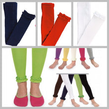 Load image into Gallery viewer, Jefferies-Girls Pima Cotton Ruffle Footless Tights (Navy, Red, & White)