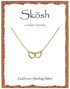 Skosh Tiny Interl-Locking Gold Hearts Necklace.