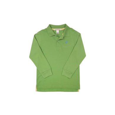 TBBC-Long Sleeve Prim & Proper Polo Grenada Green with Park City Periwinkle Stork