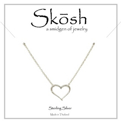 "Skosh Open Heart Necklace-Sterling Silver  16"" + 1"""