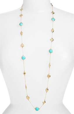 Levi Station Gold Turquoise Necklace